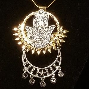 Jewelry - Hamsa Gold-Plated & Silver-tone Pendant Necklace
